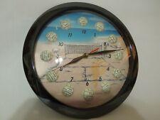 """11""""Quartz Wall Clock Beach Volley Ball Design Glass Lens Sea Star Made in Taiwan"""