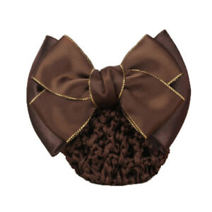 USA Satin Bow Barrette Hair Clips Cover Net Bun Snood Bowknot Women Girls Bridal