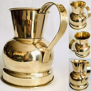 """Heavy (750g) Antique 8""""/20cm Tall & 6""""/16cm Wide Polished Brass Jug / Pitcher"""