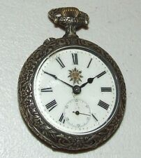 Antique Working Systeme Roskopf Swiss Pocket Watch w/Rock Climbing Repousse Case