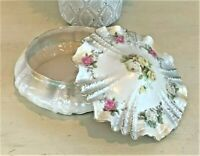 RARE Antique RS Prussia Ripple Mold Porcelain Roses Powder Dresser Trinket Box