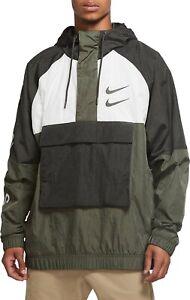 NIKE Sportswear Swoosh Woven Hooded Jacket Green Mens Sz L *New* CU3885-001 $130