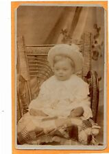 Real Photo Postcard RPPC - Child on Rattan Chair with Quilt Cushion
