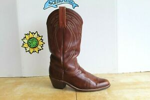 Vintage FRYE Men's Cowboy Western Brown Leather Boots, Size 8 D USA Made.