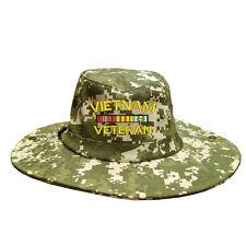 100% Cotton Digital Boonie Bush Hiking Outdoor Hat VIETNAM VETERAN RIBBON