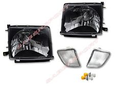 Pair Black Headlights + Clear Bumper lights for 98-00 Tacoma 4WD / PreRunner