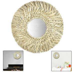Grass Wall-Mounted Mirrors Hand-woven Nordic Style Round Decor Hanging Mirror