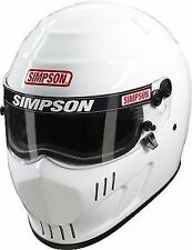 SIMPSON SPEEDWAY RX HELMET SNELL SA2015 GLOSS WHITE L LARGE 60cm 7 1/2 HANS FIA