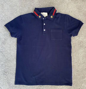 Authentic Gucci Boys' Navy Blue Cotton Short Sleeve Polo Top Size 12 Years