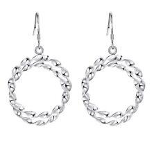 925 Sterling Silver New Twisted Double Hoop Drop Earrings