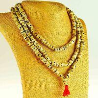 Totenkopf Halskette beige Mala Lang Bein Unikat Handarbeit Nepal 18c