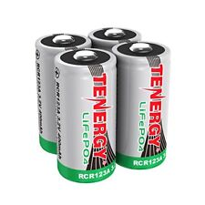 4pc Tenergy RCR123A 3.0V/3.2V 400mAh LiFePO4 Rechargeable Battery Batteries
