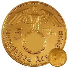 +++  5 Reichsmark mit HK - 24 Karat vergoldet +++