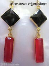 Art Deco Pendientes Estilo Vintage Art Nouveau Pendientes Geométrico Rojo Negro Gota
