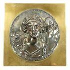 Antique Heavy Bronze & .1000 Silver Paperweight Hallmarked Bas Sculpture Plaque