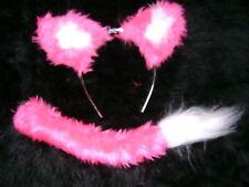 ROSA Brillante FOX orecchie e coda set bianco MARABOU handmade FANCY DRESS UNIQUE ITEM