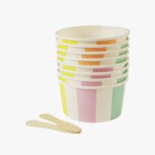 Meri Meri Striped Ice Cream Tubs Retro Vintage Summer Children's Party x8