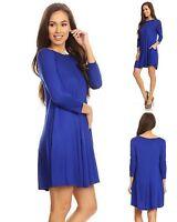 Womens Rayon Blend Knit Swing Tunic Top Shirt Blouse Dress Pockets Blue S M L