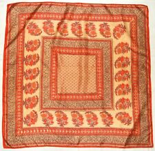 "Fashion Boho HIPPIE Ethnic INDIA Floral Beige Brown Orange 32"" Raw Silk Scarf"