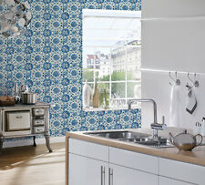 BLUE WHITE  VINYL TEXTURED WALL TILE FEATURE WALLPAPER A.S.CREATION 96247-1