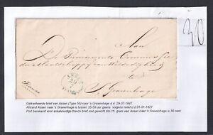 NETHERLANDS DRENTHE 1847 STAMPLESS FOLDED LETTER ASSEN TO GRAVENHAGE