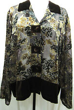 COLDWATER CREEK Size 2X Brown Velvet Burnout Jacket/Top