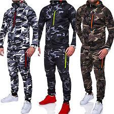 Mens Camo Tracksuit Set Hooded Jacket Bottoms Trousers Sports Jogging Sweat Suit