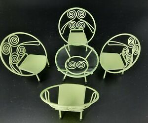 Vintage Metal Retro Green Table w/Glass Top & 4 Chairs 1/12 Dollhouse Size