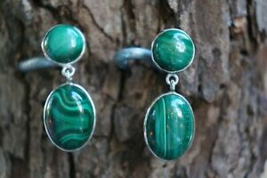 Malachite Earrings Cabochon Natural Gemstone Drop Oval  Fine Solid 925 Silver