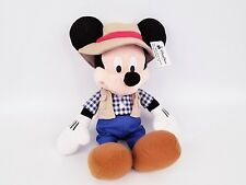 """Disney Store Gone Fishing Mickey Mouse Outdoors Checkered Shirt 15"""" Plush NEW"""