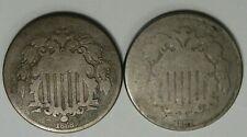 2- Better Date SHIELD Nickels. 1867, 1868.  #35