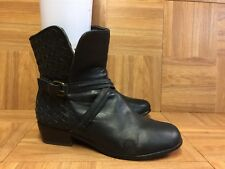$250❤️ Joie Jackson Ankle Boot Basket Weave Buckle Strap Black Leather 7.5