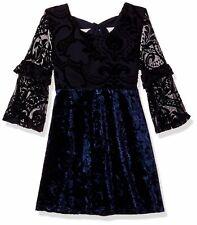 My Michelle Girls Dresses Blue Size 8 Velvet Burnout Ruffled-Sleeve $30 990