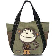 Chala Purse Handbag Leather & Canvas Carryall Tote Bag  Monkey