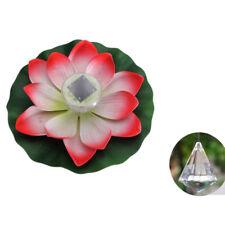 LED Solar Outdoor Floating Lotus Light Pool Pond Garden Water Flower Lamp Xmas
