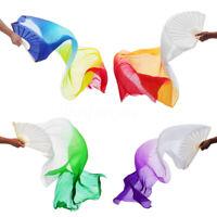 180cm Long Belly Dance 100% Silk lengthened Fan Veil 1 Pair(left+right) 4