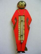 VINTAGE ART DECO BELLHOP MAN WITH MUSTACHE THERMOMETER RED UNIFORM