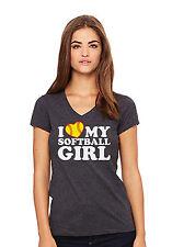 I LOVE MY SOFTBALL GIRL - Women's Jersey V-Neck Tee - dk heather NWT (XXLARGE)