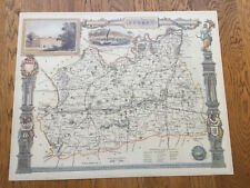 Map Of Surrey, Dulwich College - c.1980s' Reproduction. Excellent Condition.