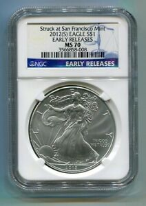 2012(S) AMERICAN SILVER EAGLE SAN FRANCISCO MINT LABEL NGC MS70 EARLY RELEASE