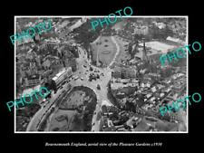 OLD LARGE HISTORIC PHOTO OF BOURNEMOUTH ENGLAND, VIEW OF PLEASURE GARDENS c1930