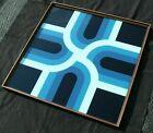 Turner Mfg Co Reverse Painted Glass Geometric Wall Art 37 x 37 Mid-Century MCM