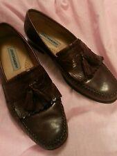 10 M Johnston & Murphy Mens Brown Leather Fringe Flap Tassel Loafers Shoes