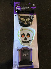 Wilton Halloween Cookie Cutters Set 3 Day Of The Dead Cat & Tombstone NEW