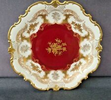 """Vintage Reichenback Royal Red/Gold 12 1/2"""" Porzelian Plate/Cabinet Plate Germany"""