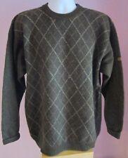 VTG Mens McGREGOR Green/Cream Crew Neck 100% Wool Thin Jumper Size Large (49e)