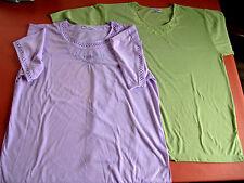 Lot 2 t-shirts occasion grande taille XL vert & parme manche courte Anne Fashion