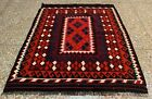 Afghan Hand Knotted Woven Maimana Ghulmori Wool Kilim Kilm Area Rug 4 x 3 Ft
