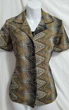 Notations Blouse. women's Sz Small. button down top. animal print collared shirt