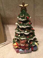 "Vtg Ceramic Christmas Tree w presents Green Light Up Lamp works w box 8.5"""